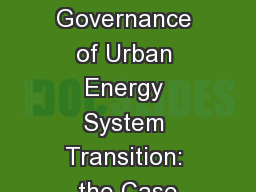 The Governance of Urban Energy System Transition: the Case