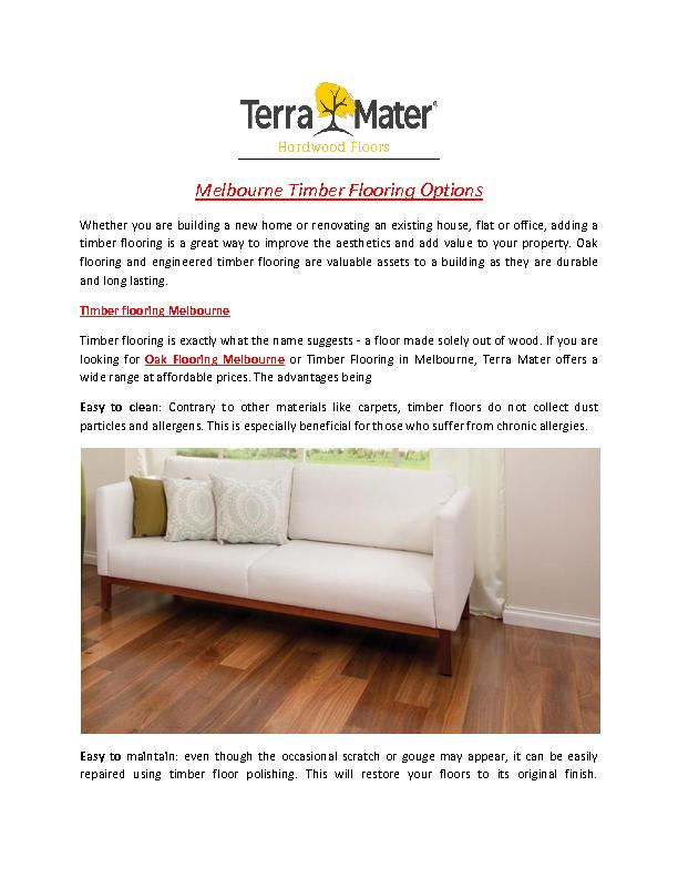 You Can Choose Engineered Timber Flooring In Melbourne