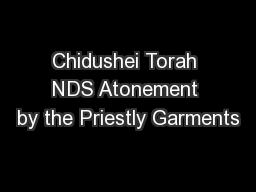Chidushei Torah NDS Atonement by the Priestly Garments