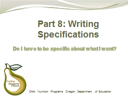 Part 8: Writing Specifications