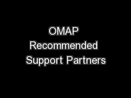 OMAP Recommended Support Partners