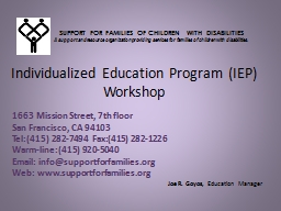 Individualized Education Program (IEP) PowerPoint PPT Presentation
