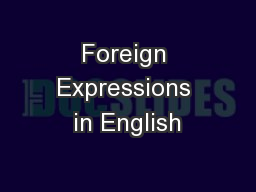 Foreign Expressions in English