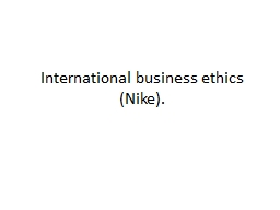 International business ethics (Nike