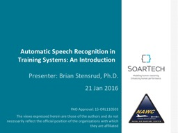 Automatic Speech Recognition in Training Systems: An Introd PowerPoint PPT Presentation