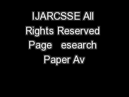 IJARCSSE All Rights Reserved Page   esearch Paper Av