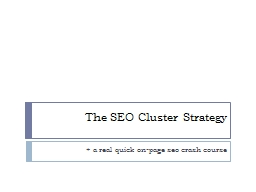 The SEO Cluster Strategy