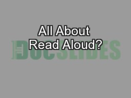 All About Read Aloud?