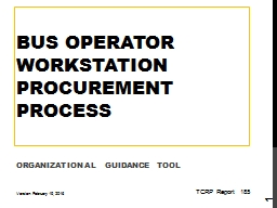 Bus Operator Workstation Procurement Process