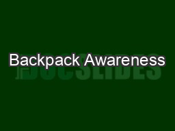 Backpack Awareness