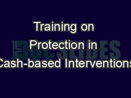 Training on Protection in Cash-based Interventions