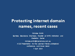 Protecting internet domain names, recent cases PowerPoint PPT Presentation