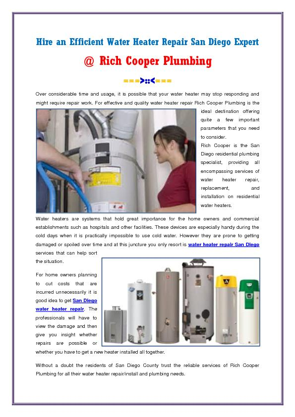 Water Heater Repair San Diego