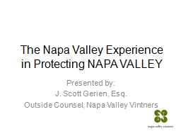 The Napa Valley Experience in Protecting NAPA VALLEY