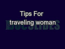 Tips For traveling woman
