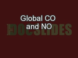 Global CO and NO PowerPoint PPT Presentation