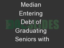 Average and Median Entering Debt of Graduating Seniors with