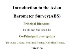 Introduction to the Asian Barometer Survey(
