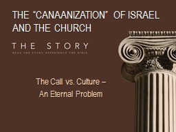 "THE ""CANAANIZATION"" OF ISRAEL AND THE CHURCH"