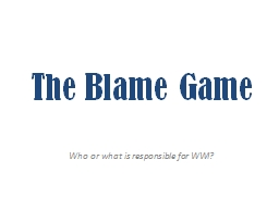 The Blame Game PowerPoint PPT Presentation