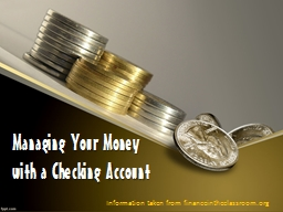 Managing Your Money with a Checking Account