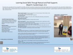 Learning Social Skills Through Natural and Paid Supports