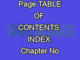 Page TABLE OF CONTENTS INDEX Chapter No