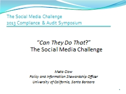 The Social Media Challenge PowerPoint PPT Presentation