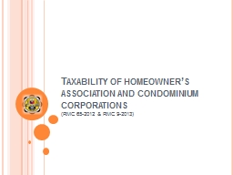 Taxability of homeowner's association and condominium cor