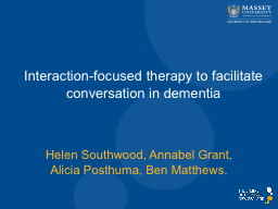 Interaction-focused therapy to facilitate conversation in d PowerPoint PPT Presentation