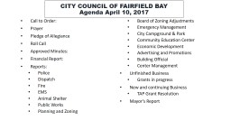 CITY COUNCIL OF FAIRFIELD BAY