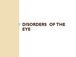DISORDERS OF THE EYE PowerPoint PPT Presentation