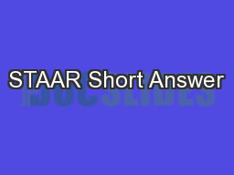 STAAR Short Answer