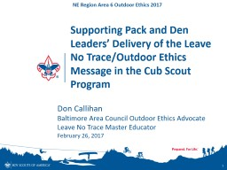 Supporting Pack and Den Leaders' Delivery of the Leave No PowerPoint PPT Presentation