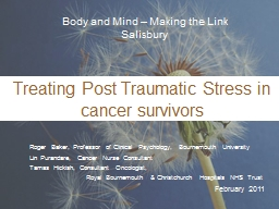 Treating Post Traumatic Stress in cancer survivors