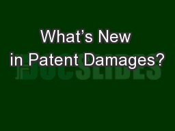 What's New in Patent Damages?