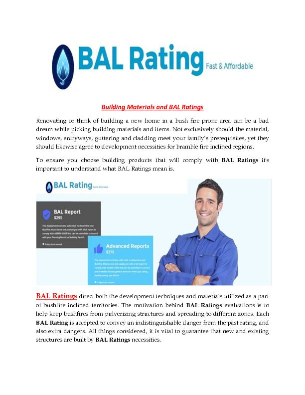 Building Materials and BAL Ratings
