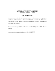 Government Auctioneers  Valuers AUCTION NOTICE Auction