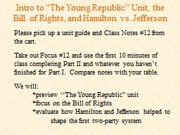 """Intro to """"The Young Republic"""" Unit, the Bill of Rights,"""