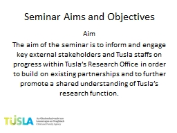 Seminar Aims and Objectives