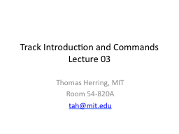 Track Introduction and Commands