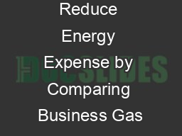 Reduce Energy Expense by Comparing Business Gas