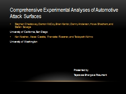 Comprehensive Experimental Analyses of Automotive Attack Su PowerPoint PPT Presentation