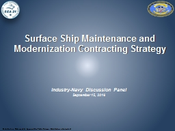 Surface Ship Maintenance and Modernization Contracting Stra
