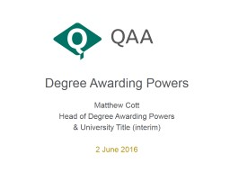 Degree Awarding Powers
