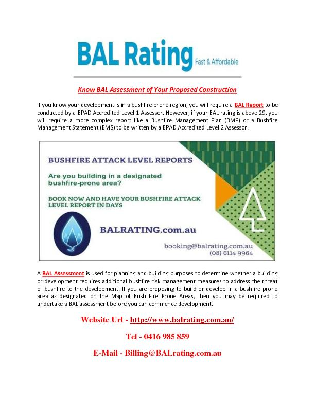 Know BAL Assessment of Your Proposed Construction