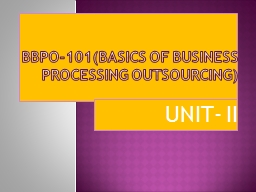 BBPO-101(Basics of Business Processing Outsourcing)