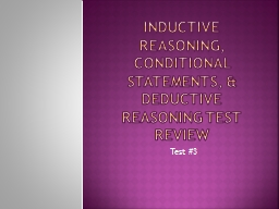 Inductive Reasoning, Conditional Statements, & Deductiv