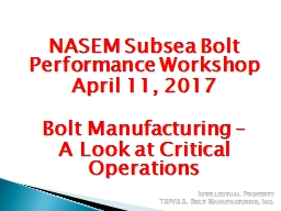 NASEM Subsea Bolt Performance Workshop