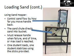 Loading Sand (cont PowerPoint PPT Presentation